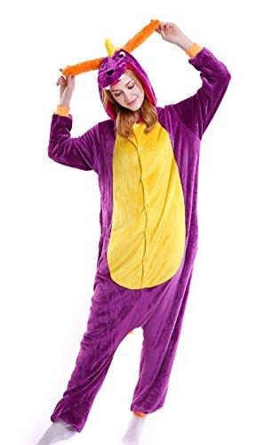 Tonwhar Unisex Adult Pajamas Costume Cosplay Homewear Lounge Wear (S(Height:150cm-159cm), Purple Dragon)