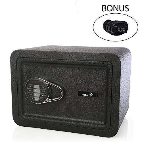 Ivation Electronic Home and Office Safe with Keypad for Pin Code Access – Includes Emergency Override Keys, with Bonus Gun Trigger Lock