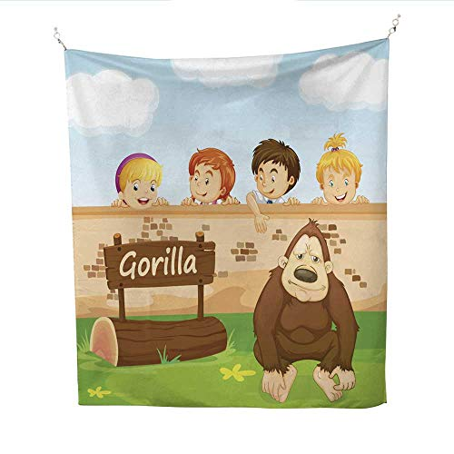 ries Wall hangings Children Looking at Gorilla in The Zoo Tapestries Hippie 54W x 72L INCH ()