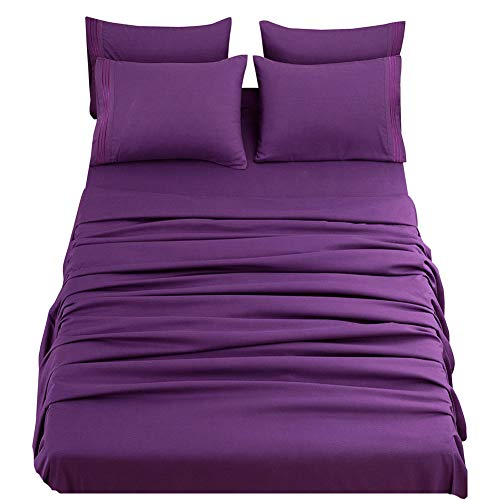 SONORO KATE Bed Sheets Set Sheets Microfiber Super Soft 1800 Thread Count Egyptian Sheets 16-Inch Deep Pocket Wrinkle Fade and Hypoallergenic - 4 Piece (Purple, Twin XL)