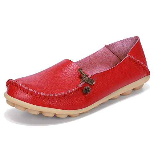 LabatoStyle Women's Genuine Leather Flats Casual Moccasin Driving loafers Shoes (Red, 8.5 B(M) US) ()