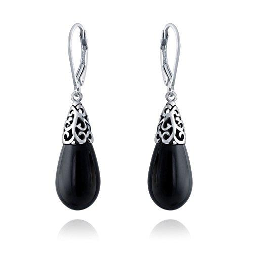 Bali Style Gemstone Black Onyx Elongated Teardrop Filigree Leverback Dangle Earrings For Women Sterling Silver