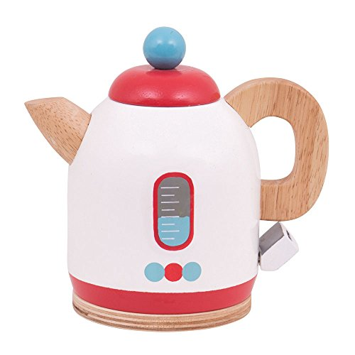 Bigjigs Toys Wooden Kettle - Pretend Play Kitchen and Role Play Toys (Toaster Pretend Play)