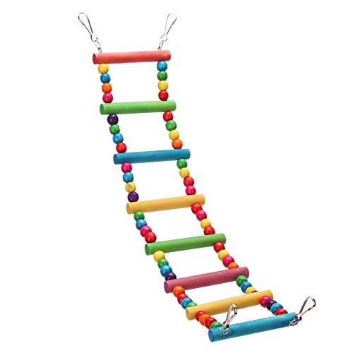 DETOP Colorful Parrot Chew Toys Step Ladder Flexible Wooden Rainbow Swing Bridge for Bird Cage Training-Wooden Ladder L by DETOP