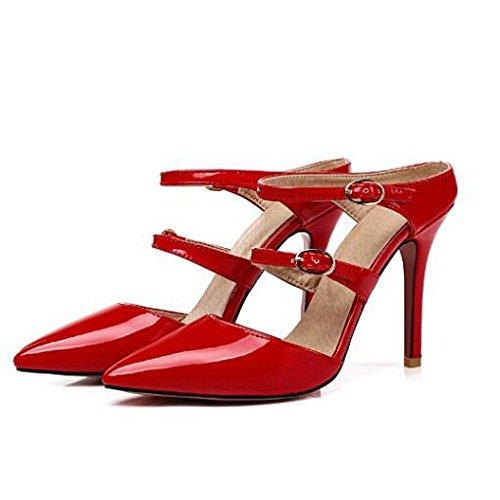 Femmes Sandales Bal Couleur Mariée Red De De Mariage Stiletto Pointu De Cheville Mode Solide Bout Talon Sangle Slingback Chaussures 6tqwrFtx