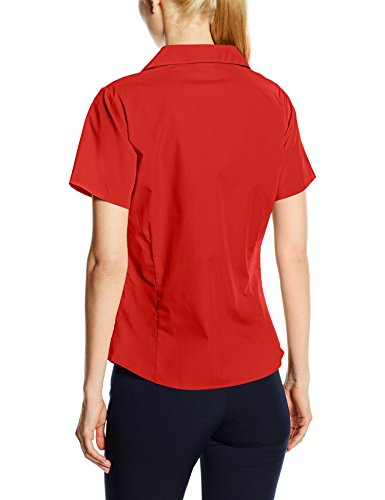 Blouse Workwear Femme Rouge Short Premier Sleeve Poplin Ladies 8qxdFX