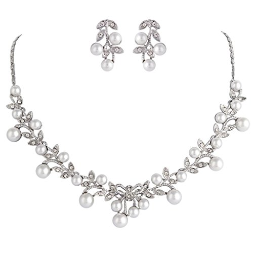EVER-FAITH-Womens-Simulated-Pearl-Vine-Leaf-Bowknot-Necklace-Earrings-Set