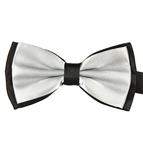 Gifts For Men ! Charberry Mens Double Color Bow Tie Men Satin Adjustable Bowtie Tuxedo Wedding Bow Tie Necktie (Silver) from Charberry