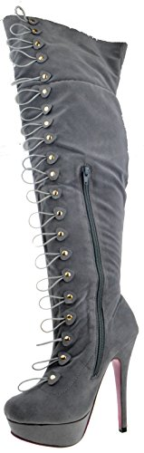 Lux 01 Womens Thigh High Hook and Loop Stiletto Boots oZslnJGw