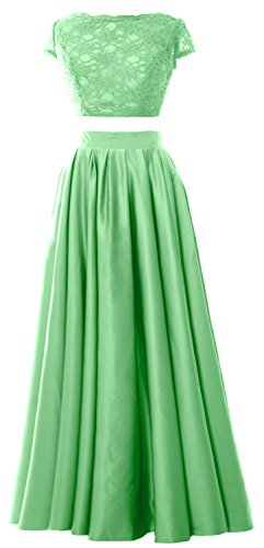 MACloth Women 2 Piece Prom Gown Cap Sleeves Lace Long Formal Evening Party Dress Menta
