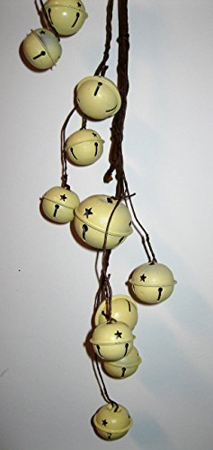 Christmas Country Metal Jingle Bell Garland in Choice Colors (Cream)