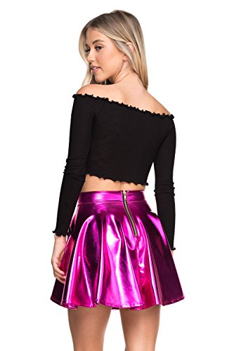 (Women's J2 Love Faux Leather Back Gold Zip Mini Skater Skirt, Small, Fuchsia Metallic)