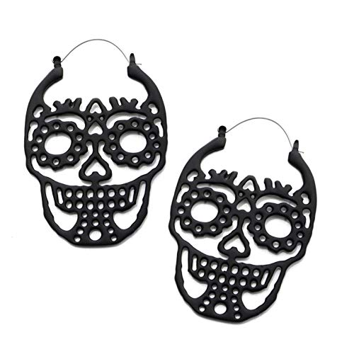 BYB Plugs Pair of Sugar Skull Plug Hoop Earrings (Black Matte)