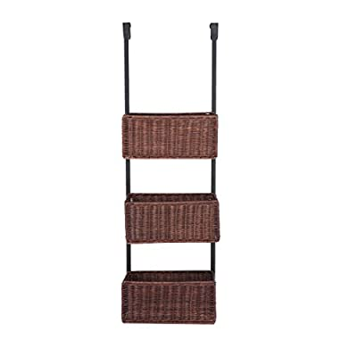 Over The Door Woven Basket Storage - 3 Tier w/ Rattan Baskets - Black Metal Frame - Convenient over-the-door storage features 3 rattan baskets Simple vertical design effortlessly organizes on the go items Finished in a black and espresso finish with costal inspired universal styling - living-room-decor, living-room, baskets-storage - 41lOoouQi8L. SS400  -