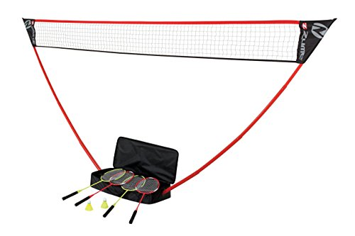 Zume Games Portable Badminton Set with Freestanding Base – Sets Up on Any Surface in Seconds – No Tools or Stakes Required (Renewed)