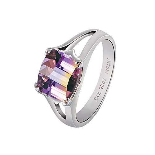 iSTONE Natural Gemstone Ametrine Engagement Rings 925 Sterling Silver Size 6#