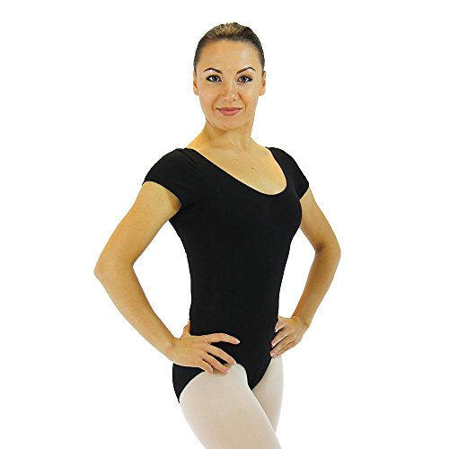 Short Sleeve Ballet Cut Leotard Small Black (Adult Short Sleeve Leotard)