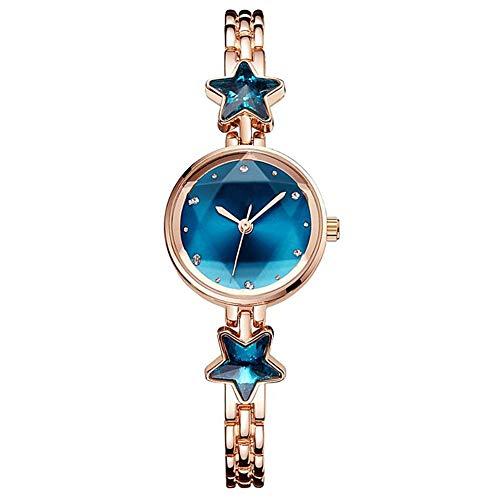 (MINILUJIA Women's Quartz Analog Rhinestones Shining Bling with Stars Dial Luxury Dress Wrist Watches (Rose Gold+Blue))