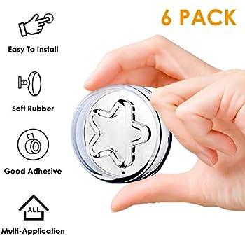 Door Stopper for Wall Protector - 6 Pack Door Bumper Guard for Door Handle Adhesive Tape Star Pattern Doorknob Wall Shield