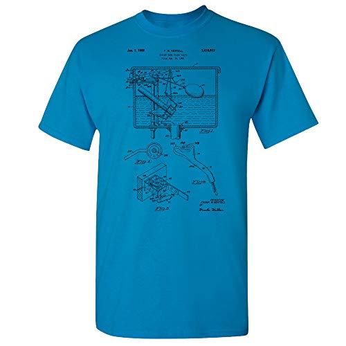 Toilet Flush Valve T-Shirt, Plumber Gift, Lavatory Washroom, Toilet Tank, Water Closet, Bathroom Plumbing, Restroom Art Sapphire (Small)