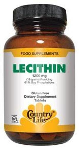 Country Life Natural Lecithin 1200 MG, 19 Grains, 300 Softgels by Country Life Vitamins by Country Life Vitamins