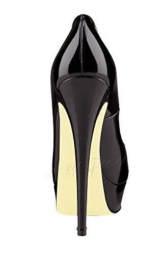 SexyPrey Women's Peep Toe High Heels Platform Sandals Dressy Court Shoes for Wedding Party B-Black Patent DpLknJXSae