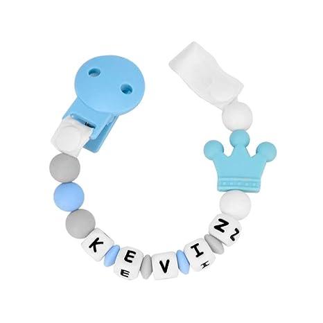 RUBY - Chupetero personalizado con pinza de plastico silicona antibacteriana y cinta. 2º unid al 15% de desc. (Azul Pastel)