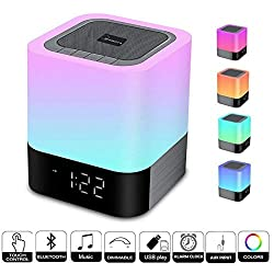 WamGra Night Light Alarm Clock Speaker, LED Dimmable Touch Sensor Digital Clock Bluetooth Speaker, Bedroom Wake-up Alarm Clock Speaker with AUX Micro SD USB for Kids, Compatible to Phone iPod(Newest)