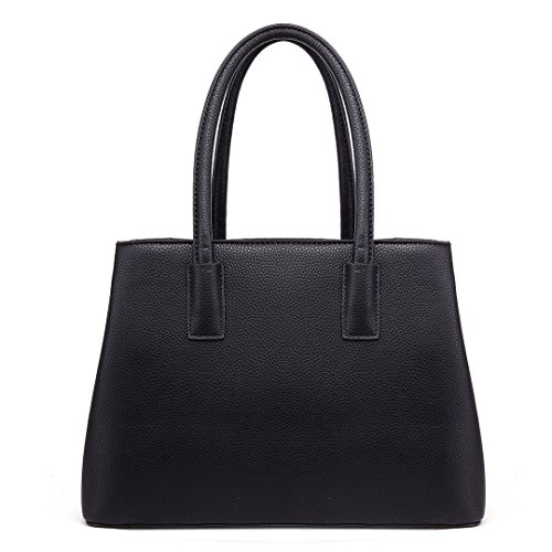 for Elegant Handbag Top Miss Shape Fashion Handbags 1748 Look V Shoulder Handle Women Design Lulu Black Leather wqYqgx0O