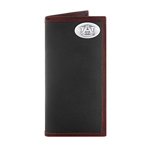 ZEP-PRO NCAA Auburn Tigers, Black and Brown Leather Roper Concho Wallet, One Size