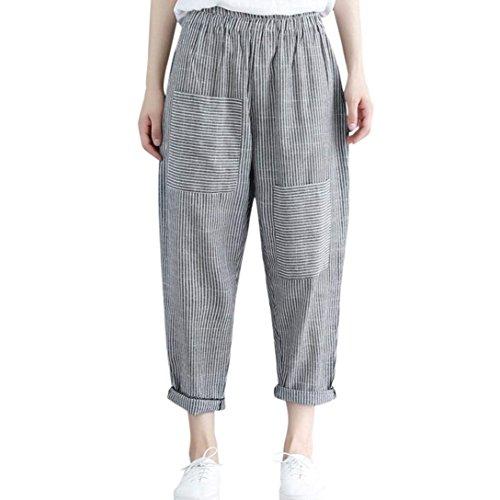 Sportivi Women Pants Stripe High Capri Casual Pantaloni Primaverile Anteriori Donna Blu Grazioso Libero Tasche Moda Tempo Harem Elegante Giovane Autunno Waist wIUIHr7Wq