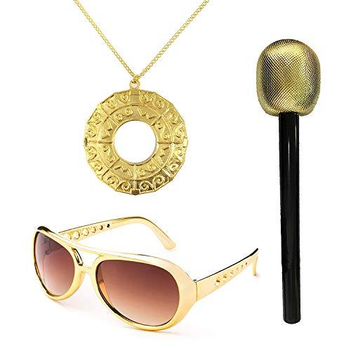 (UIMLK 70's Halloween Pop Star Costume Accessories - Elvis Glasses,Disco Medallion,Glitter Microphone,Glod)