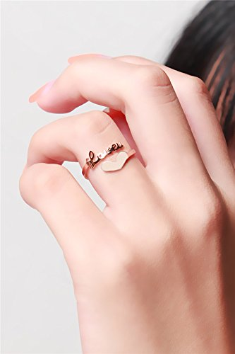 Amazoncom Generic Korean heartshaped love letter L rose gold ring