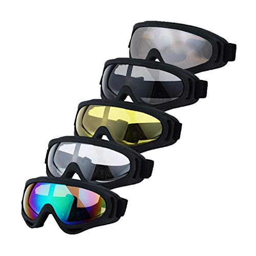 LJDJ Safety Goggles - Glasses Set of 5 - Motorcycle Goggles Dirt Bike ATV Motocross Anti-UV Adjustable Riding Offroad Protective Combat Tactical Military Goggles for Men Women Kids Youth Adult