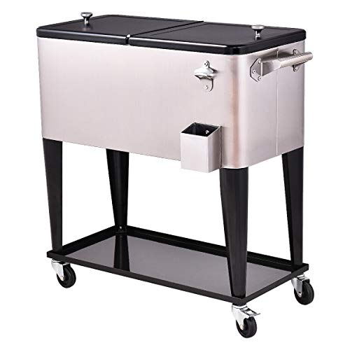 80-Quart Pool Rolling Cooler Cart Outdoor Ice Box Patio Stainless Steel Beverage Chest with Ebook