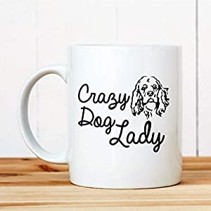 DKISEE Coffee Mug Crazy Dog Lady American Cocker Spaniel 11oz White Ceramic Glass Coffee Tea Mug Cup for Christmas Thanksgiving Festival Friends Gift Present 1