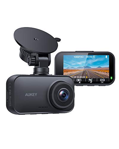 AUKEY Dash Cam 1080P FHD Car Camera Supercapacitor 170° Wide-Angle Dash Camera for Cars 2.7 Inch LCD Screen, WDR, G-Sensor, Loop Recording, Motion Detection, Support 128GB MAX