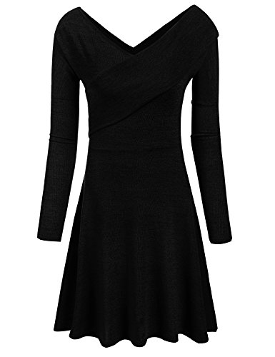 Women's Long Sleeve Deep V-Neck Knee Length Faux Wrap Dress (L, (Cotton Long Sleeve Wrap)