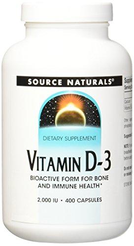 SOURCE NATURALS Vitamin D-3 2000 IU Capsule, 400 Count