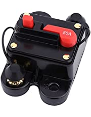 Electric Disconnector 80-300A Resettable Fuse Alloy Material DC 12V-24V Mini Circuit Breaker Electrical for Large Car Electric Appliance(80A, 12)