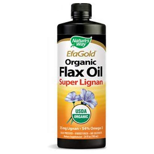 Nature's Way EfaGold Flax Oil Super Lignan 24 Fl ounces (705 milliliters) Liquid. Pack of 4 Bottles.