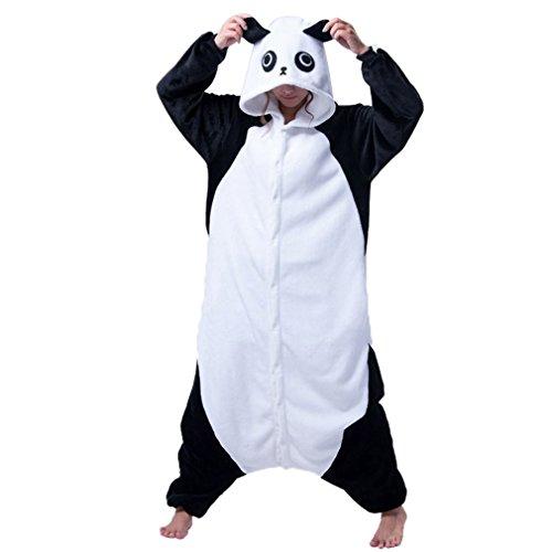IDGIRL Adults Flannel Romper Panda pijamas Man and Women Costumes Cartoon Sleepwear Panda-XL (Panda Costume Adult)