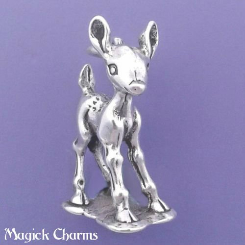 925 Sterling Silver 3-D Baby Deer Charm Bambi Fawn Pendant Jewelry Making Supply, Pendant, Charms, Bracelet, DIY Crafting by Wholesale Charms