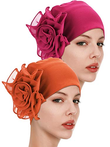 2 Pieces Chemo Turban Hats Flower Turban Hats Stretchy Ladies Turban Brim Cap Pile Vintage Turban Cap for Women Girls (Color 10)]()