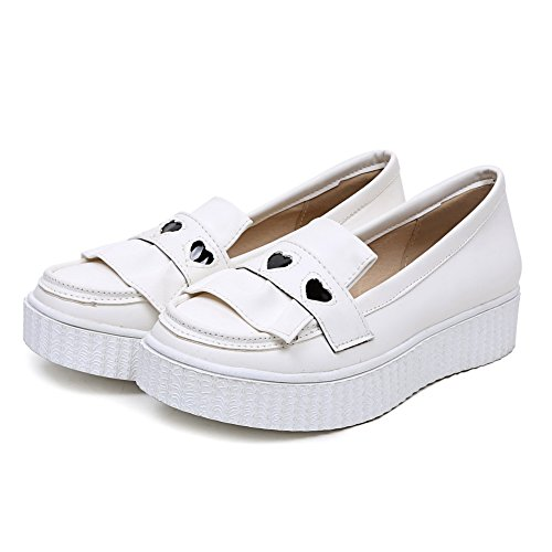 Odomolor Women's Assorted Color Pu Low-Heels Closed-Toe Court Shoes White OK3uBOxOx