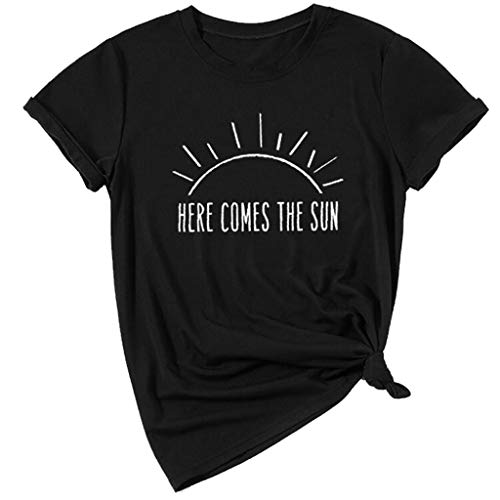 Funny T Shirt for Women,QueenMMWomen's Short Sleeve Graghic Summer T-Shirt Here Comes The Sun t Shirt Black ()