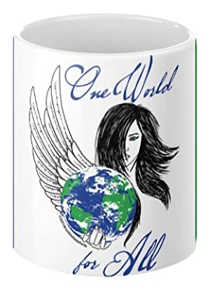 One World for all Coffee Mug - Earth Day Themed Coffee Mug - 100% Ceramic - Made in USA 11oz