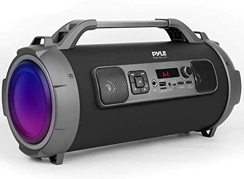 Wi-fi Moveable Bluetooth Boombox Speaker – 500W Rechargeable Increase Field Speaker Moveable Barrel Loud Stereo System with AUX Enter, USB/SD, 1/4″ in, Fm Radio, 4″ Subwoofer, DJ Lights – Pyle PBMKRG155