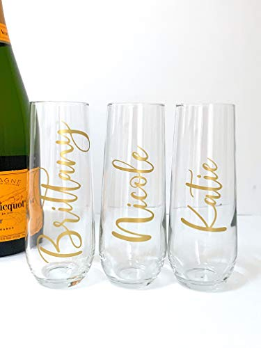 Personalized Champagne Flutes - Custom Bridal Gifts - Birthday - Bachelorette -