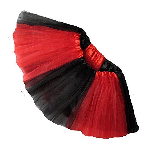Southern Wrag Company BIG GIRLS TEAM SPIRIT Tutu Sizes S-XXL (XXL:TUTU WAIST 38-70, BLACK RED TUTU) (Harley Quinn Costume Teen)